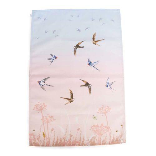 Keukenhanddoek met zwaluwen roze/blauw - Roy Kirkham
