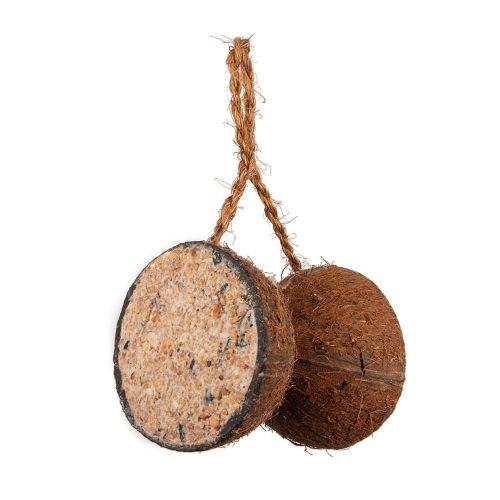 2 halve kokosnoten aan touw