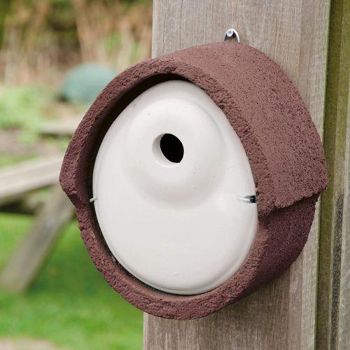 Nestkast houtbeton ovaal 32 mm bruin