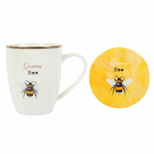 Mok 'Queen Bee' met onderzetter