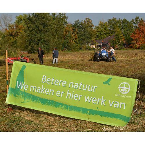 """Banner """"Betere natuur, we maken er hier werk van"""""""
