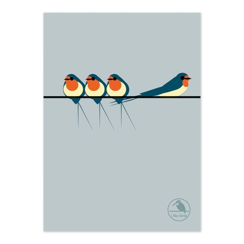 Swallows On a Line Notebook